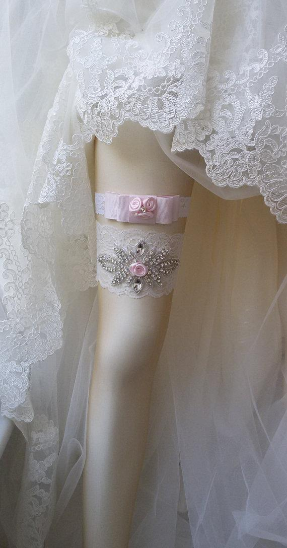 Hochzeit - Wedding Garter Set , Ivory Lace Garter Set, Bridal Leg Garter,Rustic Wedding Garter, Bridal Accessory, Rhinestone Crystal Bridal Garter
