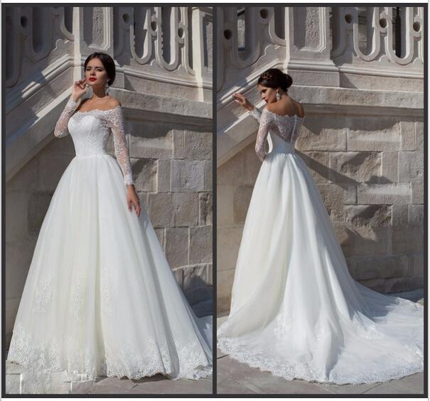 Boda - Spring Long Sleeve 2015 Wedding Dresses Off Shoulder Lace Illusion Cheap Wedding Ball Applique Bridal Gowns Dresses A-Line Chapel Train from Hjklp88,$124.61