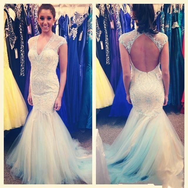 Wedding - Charming Mermaid 2015 Wedding Dresses Lace Applique Beads Long Prom Gowns Sexy Sheer Sexy V Neck Backless Bridal Tulle Wedding Gowns Online with $129.95/Piece on Hjklp88's Store
