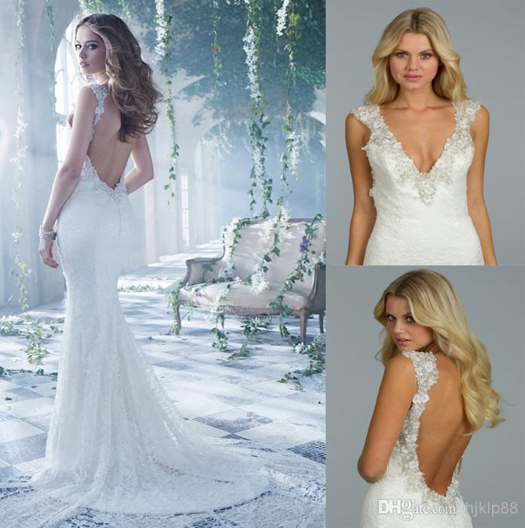 2014 new sexy deep v neck lace backless mermaid wedding for Backless wedding dresses online