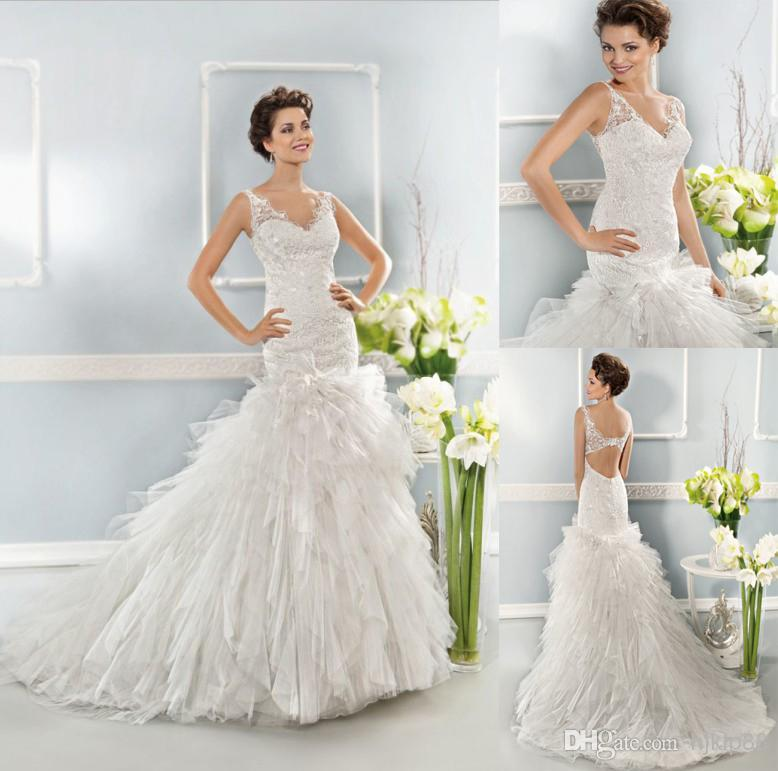 Wedding - 2014 Cosmobella Collection Tulle/Lace V-Neck Mermaid Wedding Dresses Backless Wedding Dress Bridal Gowns 7632 Online with $114.27/Piece on Hjklp88's Store