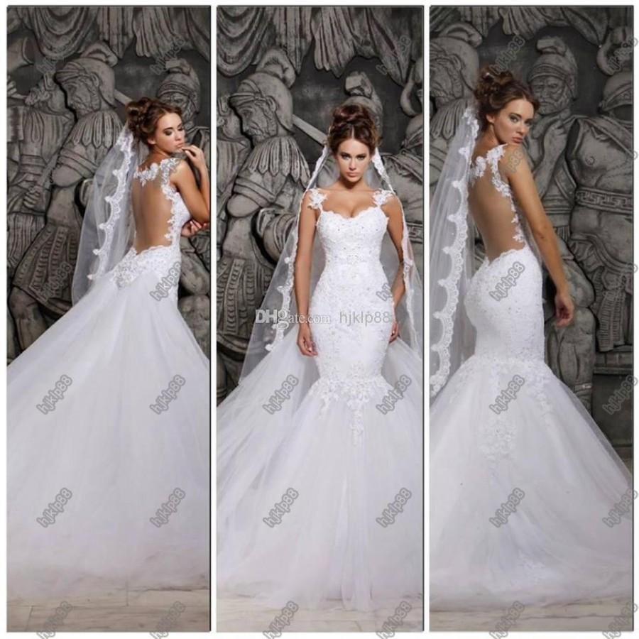 New 2014 Backless Wedding Dresses Scoop Mermaid Detachable