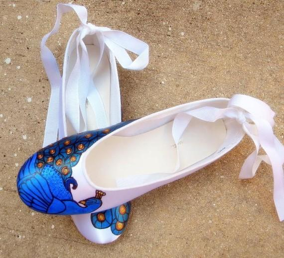Mariage - Bridal  Ballerina Flats,  painted peacocks , peacock shoes, peacock wedding , on gold and teal