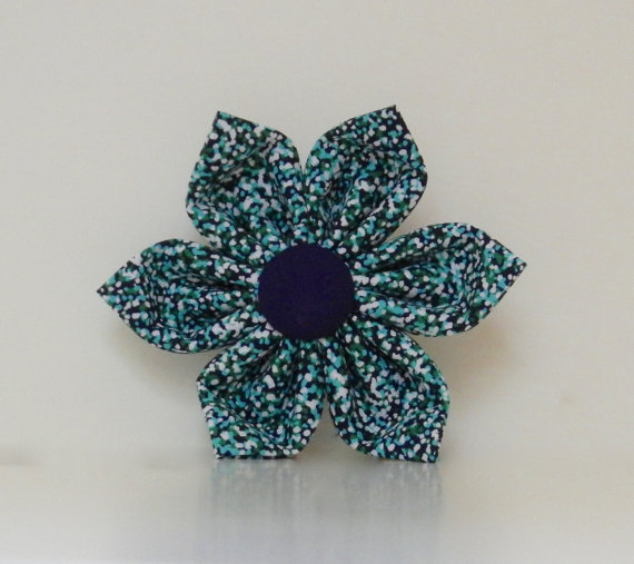 Свадьба - Navy Purple Green Abstract Dot Dog Collar Flower Wedding Accessories Spring Easter Summer Collar Made to Order