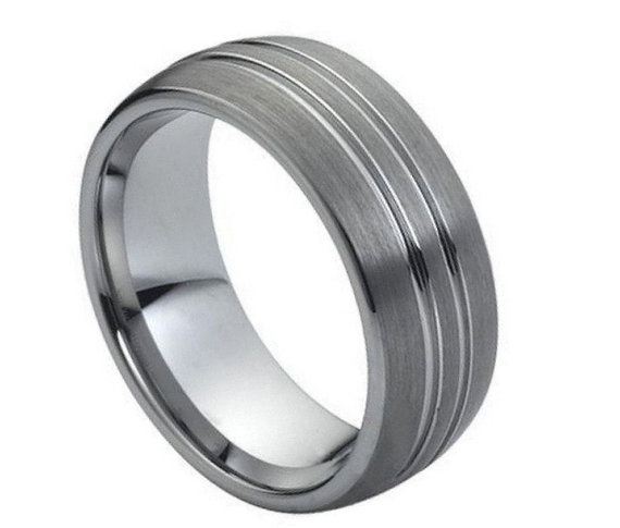 Wedding - 8MM Tungsten Wedding Band Comfort Fit Domed Double Grooved Promise Engagement Ring for Men Women SNUJDTZSE
