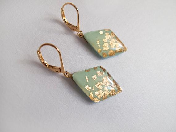 Mint Rhombus Gold Square Dangle Earrings Bridesmaid Jewelry Bridal Lever Back