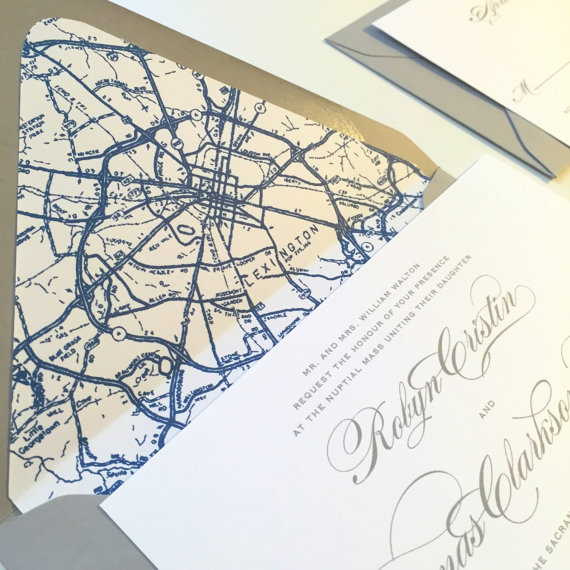 classic wedding invitation map wedding invitation envelope liner