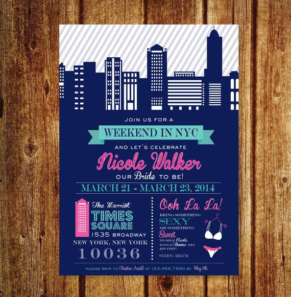 زفاف - NYC Bachelorette Weekend Invitation