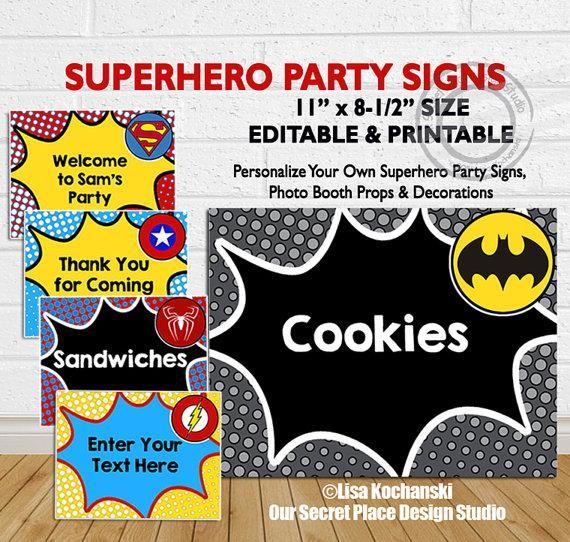 Mariage - INSTANT DOWNLOAD Editable Superhero Party Signs Superhero Party Decorations Superhero Party Decor Editable Superhero Signs Birthday party