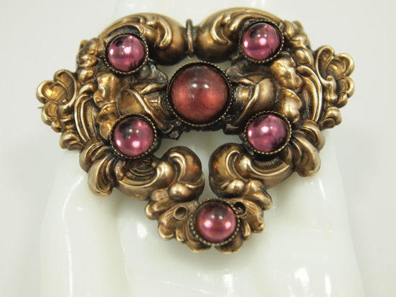 "Hochzeit - Vintage Jewelry - Victorian Revival Brooch Pin - Game of Thrones Styling - Filigree Frame - Garnet Amethyst Rhinestones - 2 3/8"" x 1 5/8"""