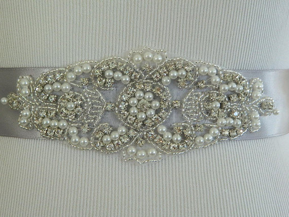 Hochzeit - Wedding Sash/Belt,Bridal Sash,Rhinestone Sash,Beaded Sash,- Joyce -Silver Wedding Sash