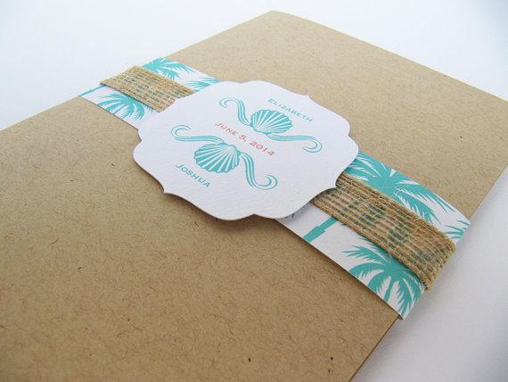 Wedding - Beach Rustic Wedding Invitation Pocket fold  Suite, Seaside Beach Wedding - Sample