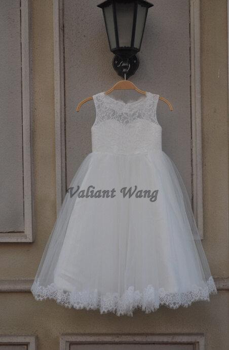 Wedding - Lovely Ivory Lace Flower Girl Dress Wedding Baby Girls Dress Tulle Rustic Baby Birthday Dress Floor Length