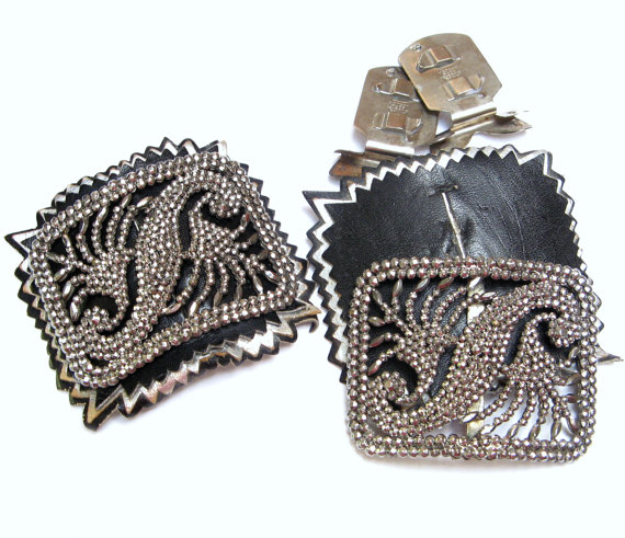 Wedding - Antique CUT STEEL Buckles FRANCE French Shoe Clips Pair Belt Sash Art Deco Vintage Black Silver Cutout Backings Victory Wedding Accessories