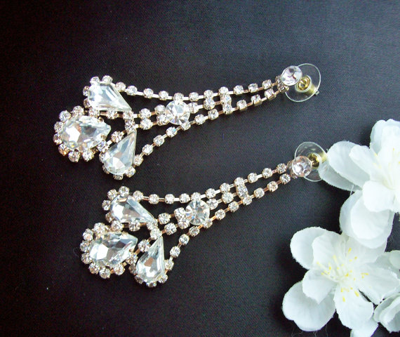 Mariage - Bridal Crystal Rhinestone Teardrop Earrings, Crystal Rhinestone Dangle Earrings,Bridal Jewelry