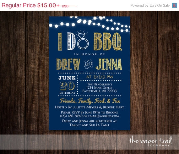 Wedding - I Do BBQ, Couples Shower Invitation, Wedding Shower, BBQ Invitation, Chalkboard