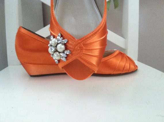 Свадьба - Orange Wedge Wedding Shoes Choose From Over 100 Colors - Wide Size Wedge Available -Bridal Shoes For Outdoor Weddings - Peep Toe Wedge Shoes