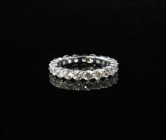 2 Carat Eternity Band Round Wedding Band 3mm Engagement Ring Man Made Wh