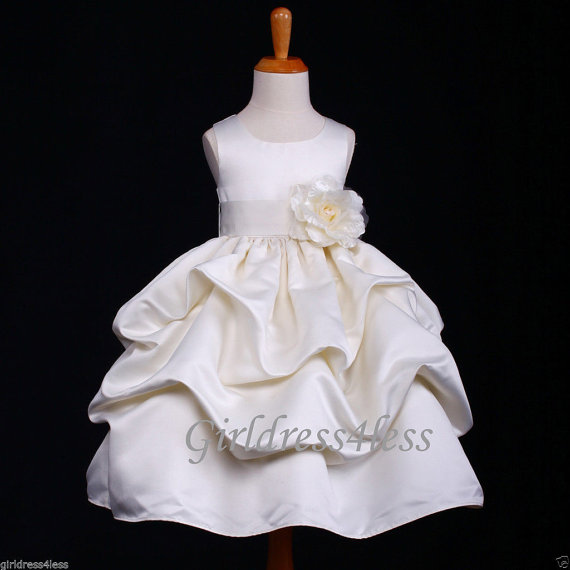 95b6d4280 Ivory With Removable Sash With Many Colors To Choose Princess Wedding Pick  Up Wedding Flower Girl Dress 6M12M 18M 2 4 6 8 10 12