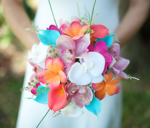 Wedding wedding coral orange pink and turquoise teal natural touch