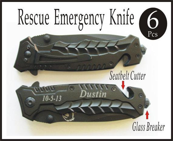 Свадьба - 6Groomsmen Gifts Personalized Knives Engraved Knife Custom Knife Engraved Pocket Rescue Knife Personalized Engraved Groomsmen Gifts -KS69