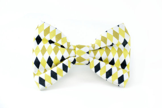 Свадьба - Gold Argyle Pet Bow Tie - Detachable Dog or Cat Yellow White Gold and Black Bow tie