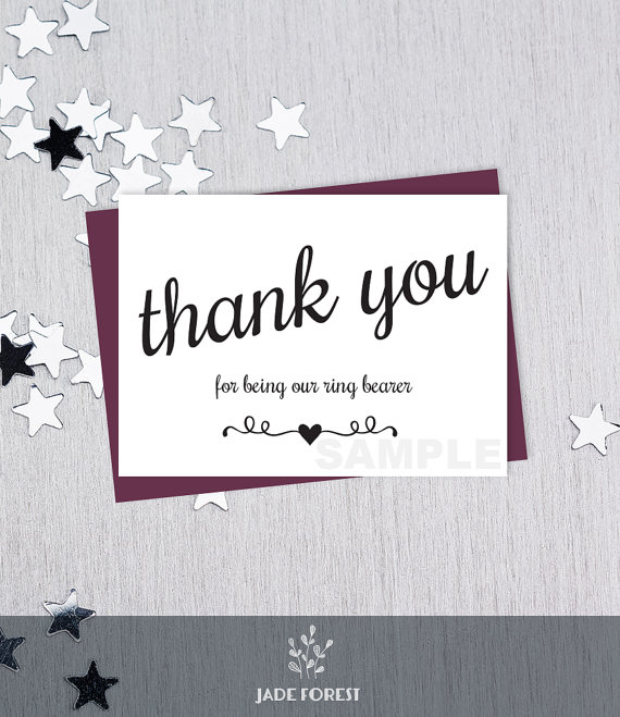 Mariage - For Being Our Ring Bearer // Wedding Thank You Card DIY // Elegant Black Lettering Printable PDF // Classic Elegance ▷ Instant Download