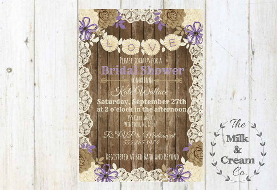 shabby chic rustic lavender bridal shower invite invitation with flowers simple casual digital file rustic wood wedding