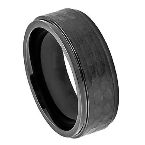 Hochzeit - 8MM Men's Wedding Engagement Anniversary Band Cobalt Ring Black Enamel Plated Stepped Edge Hammered Finish Center Size 7-15 1/2 Sizes