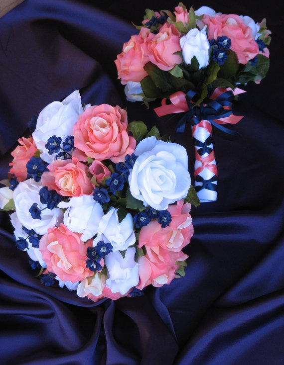 Свадьба - Navy and Coral Reef Bridal Bouquet, Silk Coral Reef and Navy Wedding Flowers