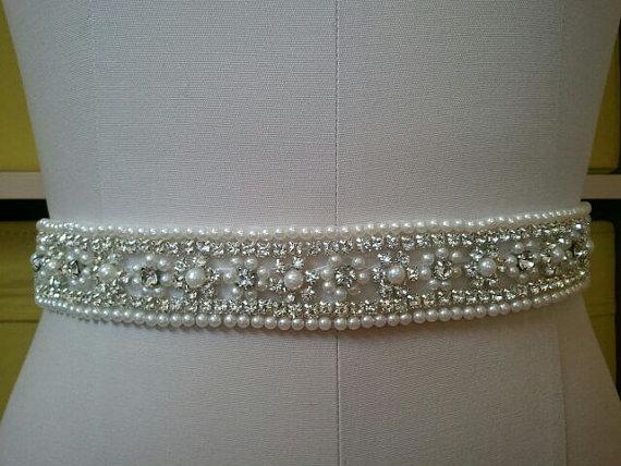 Свадьба - SALE - Wedding Belt, Bridal Belt, Sash Belt, Crystal Rhinestone & Off White Pearls - Style B30099