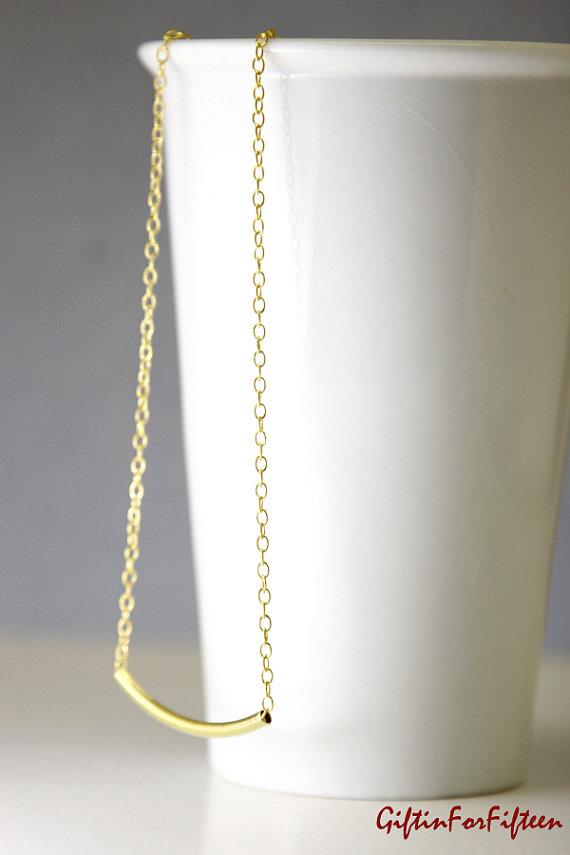 زفاف - Bar Tube Necklace, Gold Plated, Diamond Cut Chain, Modern, Minimalist, For Her, Best Seller, Nerdy Jewelry Bridal Jewelry, Bridesmaids Gifts