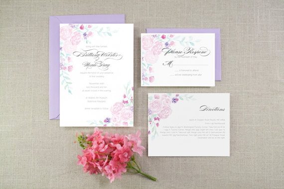 Hochzeit - Spring Bouquets Watercolor Wedding Invitation Suite - Sample
