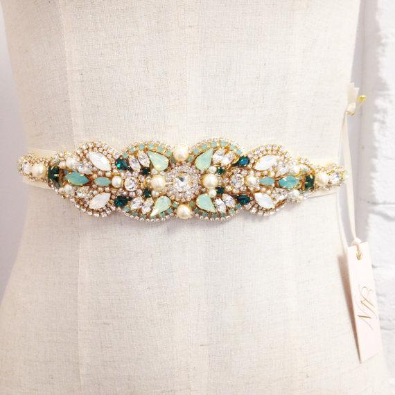 زفاف - RESERVED- RUSH- Opal Gold and Emerald Green Bridal Belt- Mint Wedding