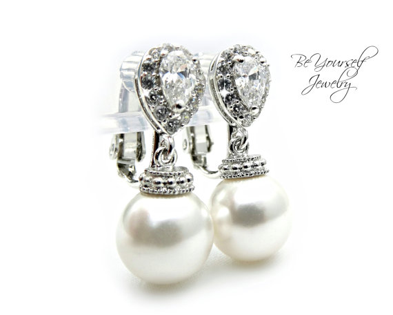 Hochzeit - CLIP ON Pearl Earrings Sparkly Cubic Zirconia Earrings Round Swarovski Pearls Hypoallergenic White Crystal Wedding Jewelry Bridesmaid Gift