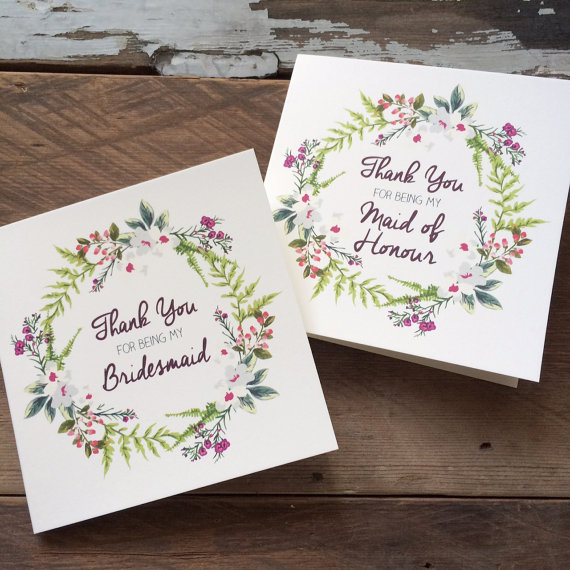 Mariage - Thank you for being my Bridesmaid, Maid of Honour or Flowergirl Floral Wreath Cards