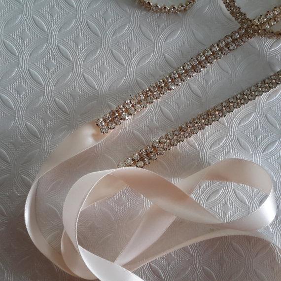 Mariage - Skinny Gold Rhinestone Belt, Bridal Belt, Gold Wedding Sash, Thin Bridal Sash, Gold Rhinestone Wedding Belt, Best Friend Bridal 112G