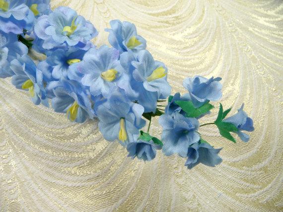 Mariage - SALE Vintage Delphinium Silk Millinery Flower Spray Sky Blue for Weddings Bridal Bouquets Something Blue Hats Floral Arrangements Light Blue