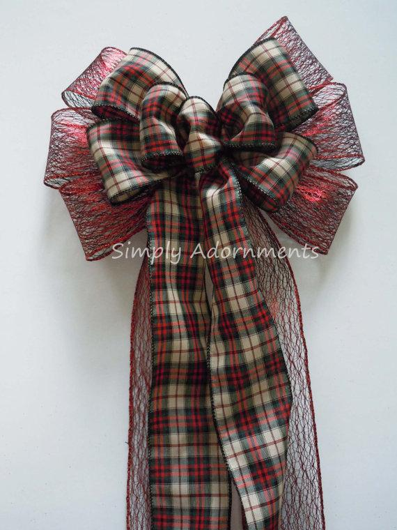 Свадьба - CIJ Rustic Country Plaid Christmas Bow Country Christmas Tree Bow Red Black Plaid Wreath Bow Winter Wedding Pew Bow