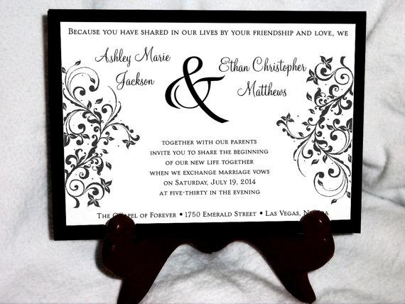 Düğün - 50 Damask Swirl Wedding Invitations, RSVP's, Reception Invitations with FREE Calendar Stickers