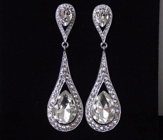 Mariage - Bridal earrings, crystal wedding earrings, Cubic Zirconia drop bridal earings, long crystal earrings, bridal jewelry, prom earings