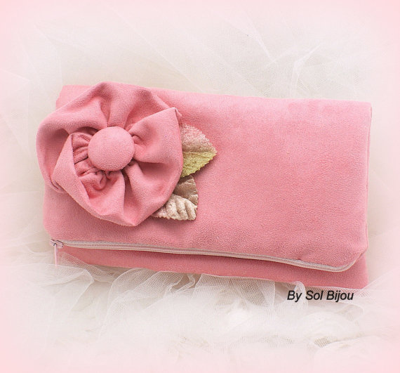 Mariage - Clutch, Wedding, Bridal, Mother of the Bride, Bridesmads, Maid of Honor, Handbag, Suede, Pink, Vintage Inspired