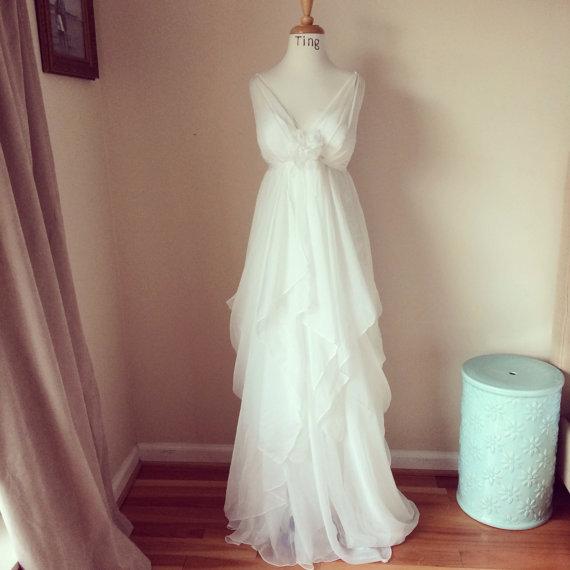 Nozze - Estee-Perfect V neck chiffon Wedding Dress-Custom wedding gown-illution V neck empire waist A-line floor length chiffon wedding go