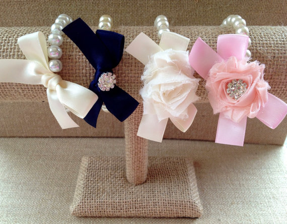 Custom Pearl Ribbon And Shabby Chic Flower Bracelet Build Your Own Bridesmaid Gift Bridal Jewelry Girl