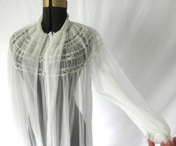 Vintage 1950s Chiffon Peignoir Robe Radcliffe White Dressing Gown