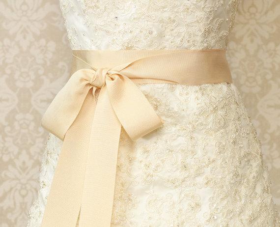 Wedding - French Vanilla Cream Bridal Sash - Romantic Luxe Grosgrain Ribbon Sash - Wedding Sashes - Bridal Belt