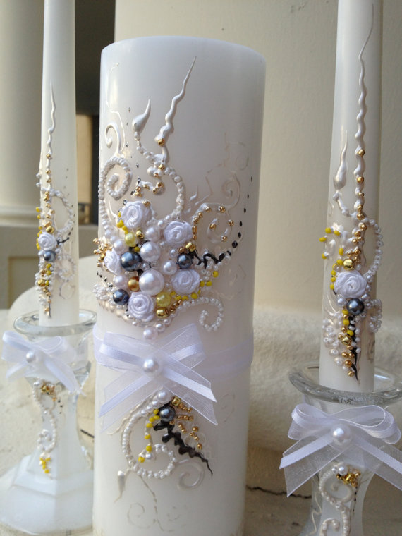 Elegant Wedding Unity Candle Set In White Grey Gold And Yellow Ceremony Candles