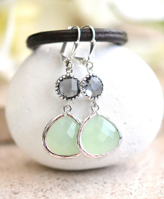 Mariage - Light Mint and Charcoal Jewel Drop Earrings in Silver.  Mint and Grey Bridesmaid Dangle Earrings. Jewelry Gift Her. Wedding. Christmas Gift.