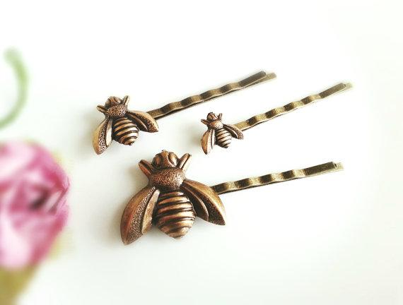 Hochzeit - BUY 2 GET Any 1 FREE Brass Bee Bobby Pin Trio Set Brass Bee Hair Pin Woodland Jewelry Boho Chic Hair Clip Bohemian Jewelry Bee Hair Clip