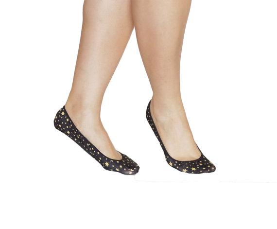 Свадьба - Cushioned Shoes Liner socks , short sock, ballet shoes sock,  ultra soft  BAMBOO fiber  in BLACK